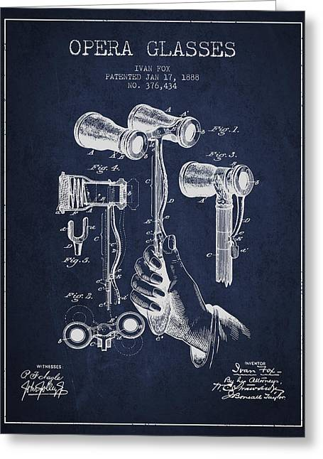 Opera Glasses Greeting Cards - Opera Glasses Patent from 1888 - Navy Blue Greeting Card by Aged Pixel