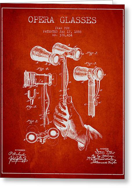 Opera Glasses Greeting Cards - Opera Glasses Patent from 1888 - Red Greeting Card by Aged Pixel