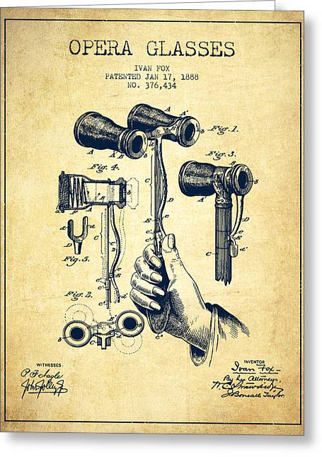 Opera Glasses Greeting Cards - Opera Glasses Patent from 1888 - Vintage Greeting Card by Aged Pixel