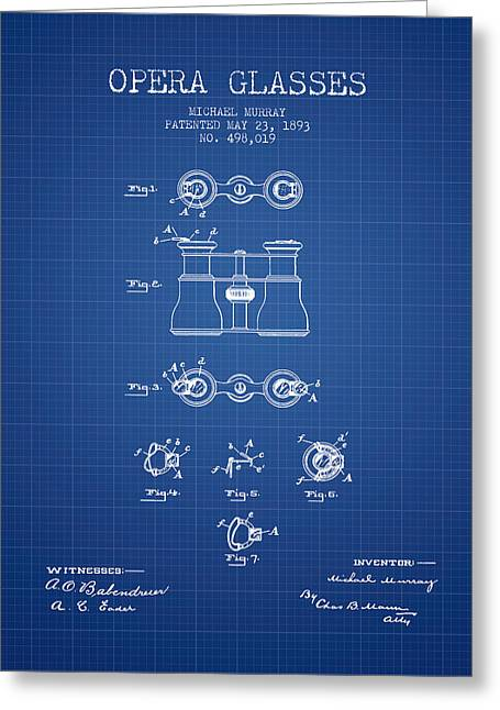 Opera Greeting Cards - Opera Glasses patent from 1893 - Blueprint Greeting Card by Aged Pixel