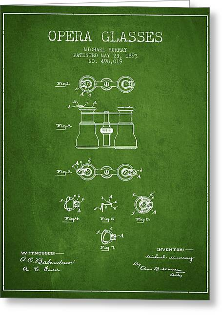 Opera Glasses Greeting Cards - Opera Glasses patent from 1893 - Green Greeting Card by Aged Pixel