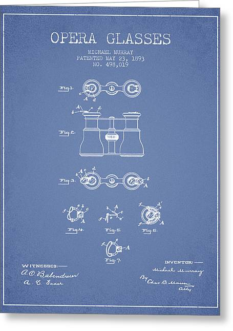 Opera Greeting Cards - Opera Glasses patent from 1893 - Light Blue Greeting Card by Aged Pixel