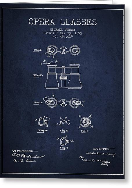 Opera Glasses Greeting Cards - Opera Glasses patent from 1893 - Navy Blue Greeting Card by Aged Pixel