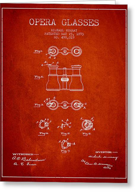 Opera Glasses Greeting Cards - Opera Glasses patent from 1893 - Red Greeting Card by Aged Pixel