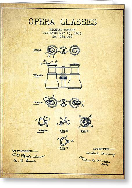 Opera Glasses Greeting Cards - Opera Glasses patent from 1893 - Vintage Greeting Card by Aged Pixel
