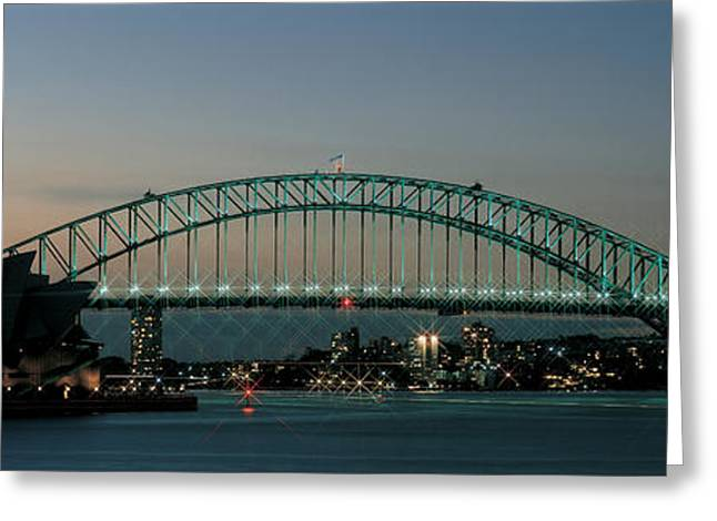 Visitors Greeting Cards - Opera House & Harbor Bridge Sydney Greeting Card by Panoramic Images