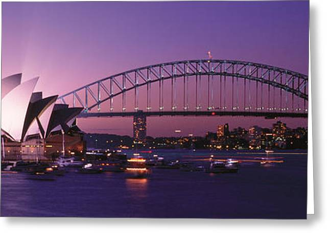 Famous Buildings Greeting Cards - Opera House Harbour Bridge Sydney Greeting Card by Panoramic Images