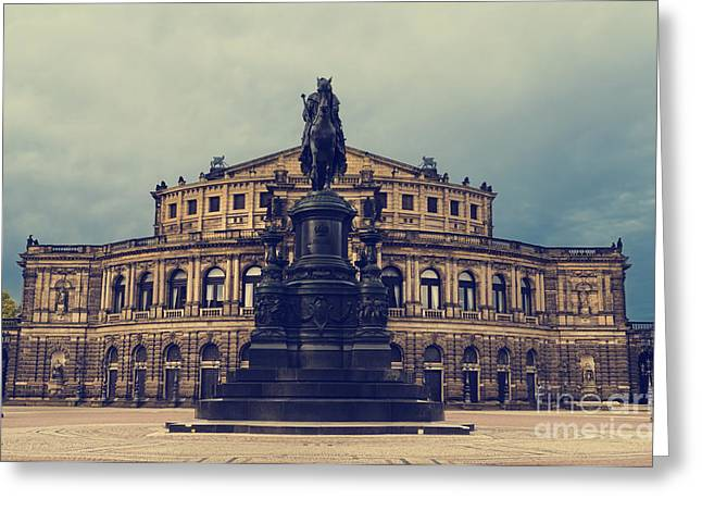 Building Pyrography Greeting Cards - Opera House in Dresden Greeting Card by Jelena Jovanovic