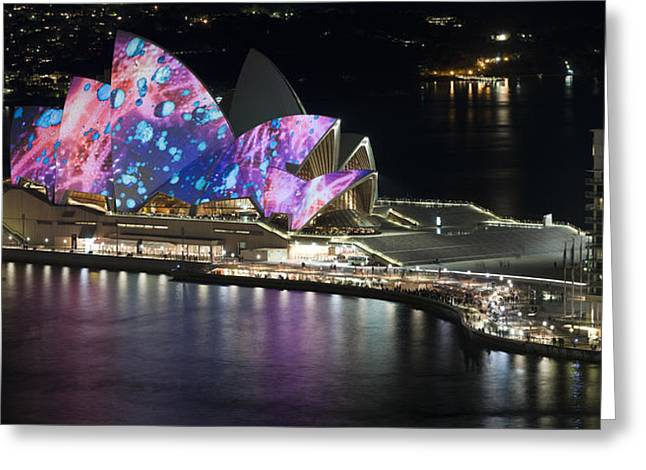 Light Show Greeting Cards - Opera House Lit Up At Night, Sydney Greeting Card by Panoramic Images
