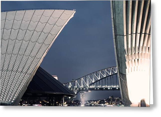Wales Posters Greeting Cards - Opera house roof and harbour bridge at night Sydney Australia Greeting Card by Matteo Colombo