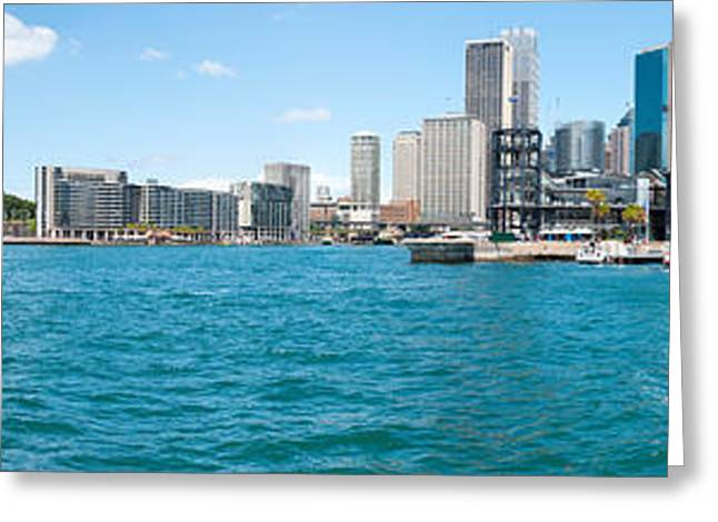 Arts Culture And Entertainment Greeting Cards - Opera House With City Skyline, Sydney Greeting Card by Panoramic Images