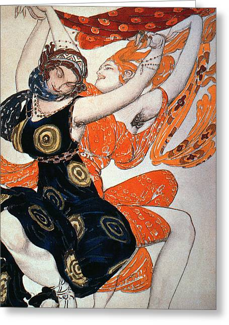 Character Portraits Greeting Cards - Operatic Costume Designs, 1911 Colour Litho Greeting Card by Leon Bakst