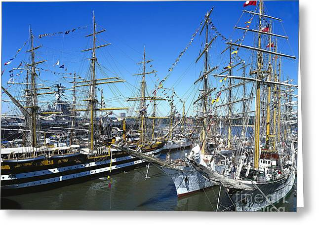 Tall Ships Greeting Cards - Operation Sail Greeting Card by Rafael Macia