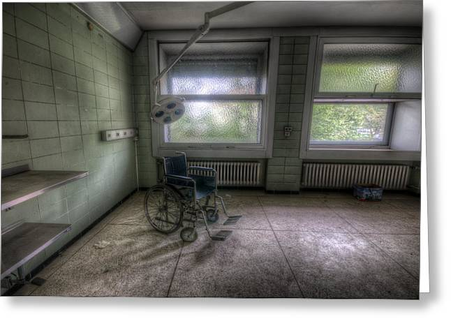 Creepy Digital Art Greeting Cards - Operation wheelchair Greeting Card by Nathan Wright