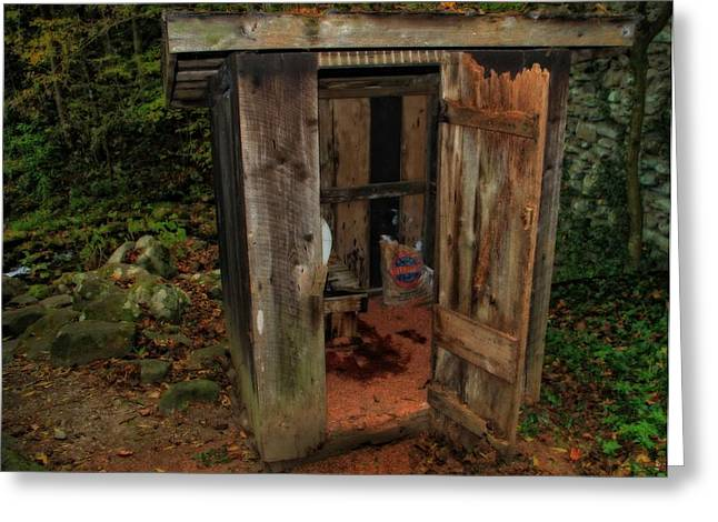 Public Restroom Greeting Cards - Operational Old Outhouse Greeting Card by Dan Sproul