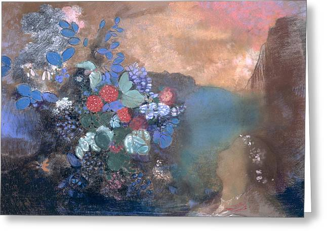 Redon Greeting Cards - Ophelia among the Flowers Greeting Card by Odilon Redon