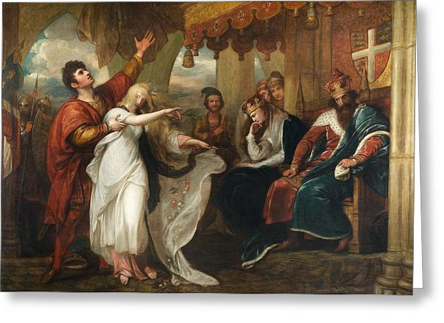 Claudius Greeting Cards - Ophelia And Laertes, 1892 Oil On Canvas Greeting Card by Benjamin West