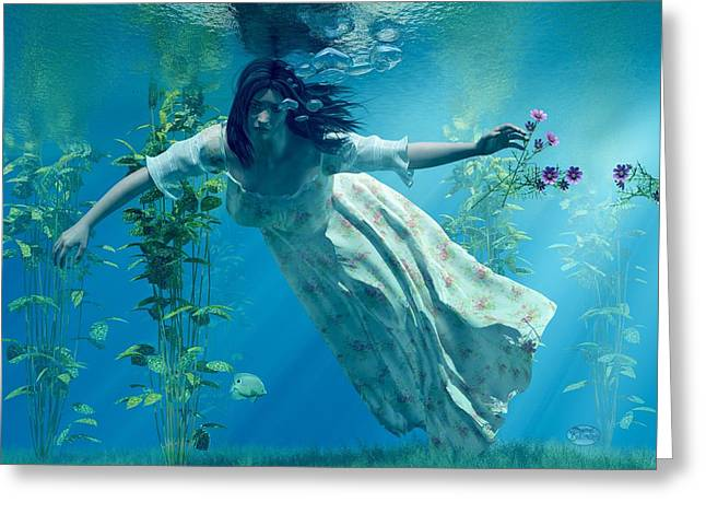 Blue Green Water Digital Greeting Cards - Ophelia Greeting Card by Daniel Eskridge
