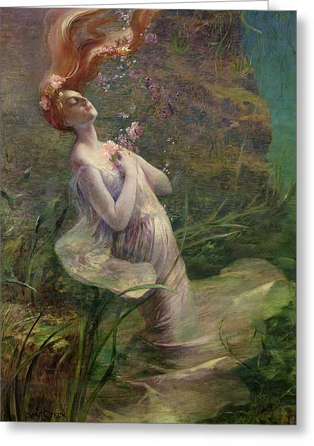 Alga Greeting Cards - Ophelia Drowning Greeting Card by Paul Albert Steck