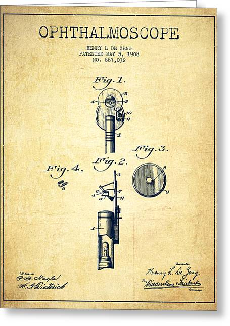 Body-parts Greeting Cards - Ophthalmoscope Patent from 1908 - Vintage Greeting Card by Aged Pixel