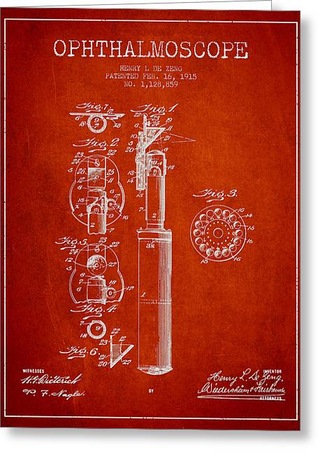 Body-parts Greeting Cards - Ophthalmoscope Patent from 1915 - Red Greeting Card by Aged Pixel