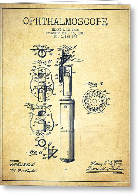 Medical Greeting Cards - Ophthalmoscope Patent from 1915 - Vintage Greeting Card by Aged Pixel