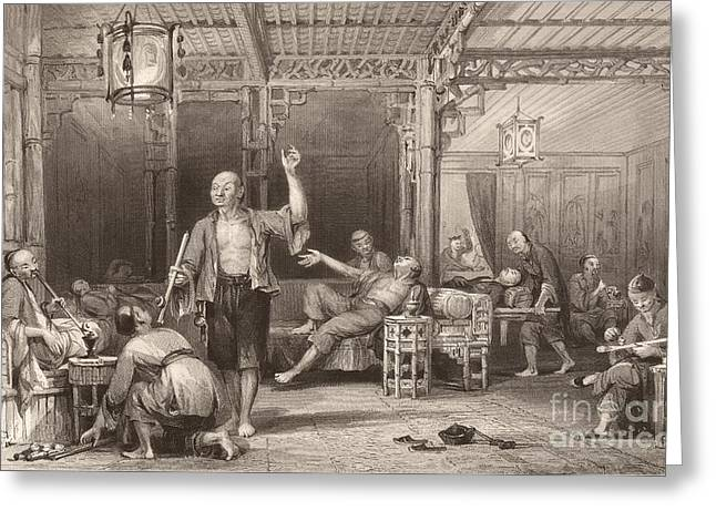Smoker Greeting Cards - Opium Smokers In China, 1840s Greeting Card by General Research Division