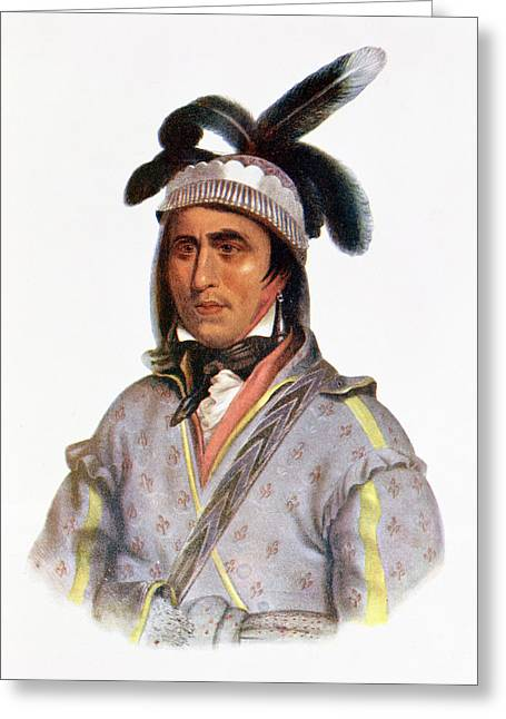 Mississippi Photographs Greeting Cards - Opothle-yoholo, A Creek Chief, 1825, Illustration From The Indian Tribes Of North America, Vol.2 Greeting Card by Charles Bird King