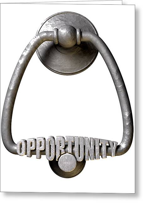 But Greeting Cards - Opportunity Knocks Door Knocker Greeting Card by Allan Swart