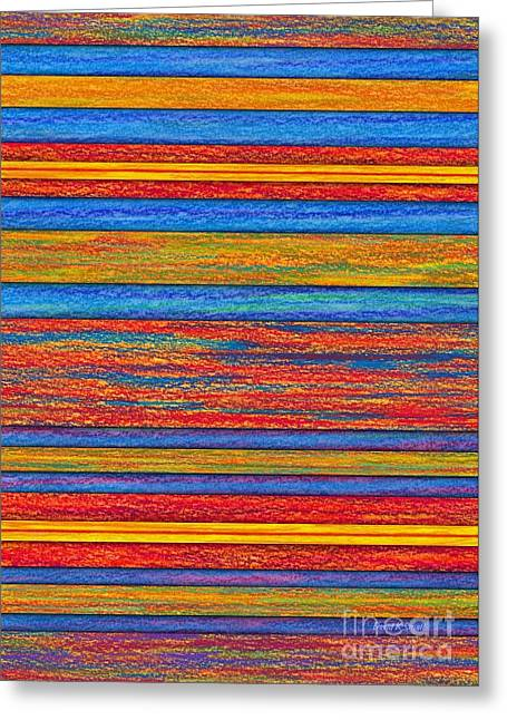 Colored Pencil Abstract Greeting Cards - Opposites Divide Greeting Card by David K Small
