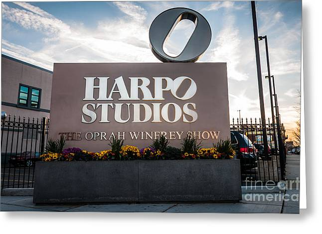 Locations Greeting Cards - Oprah Winfrey Harpo Studios Sign in Chicago Greeting Card by Paul Velgos