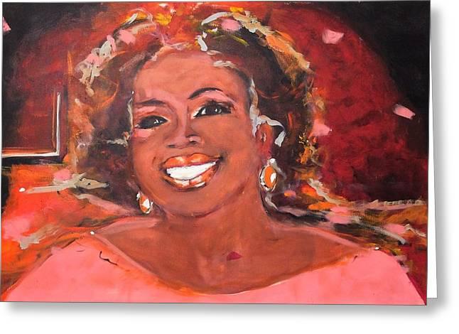 Superwoman Greeting Cards - Oprah Winfrey Greeting Card by Nellen Edens