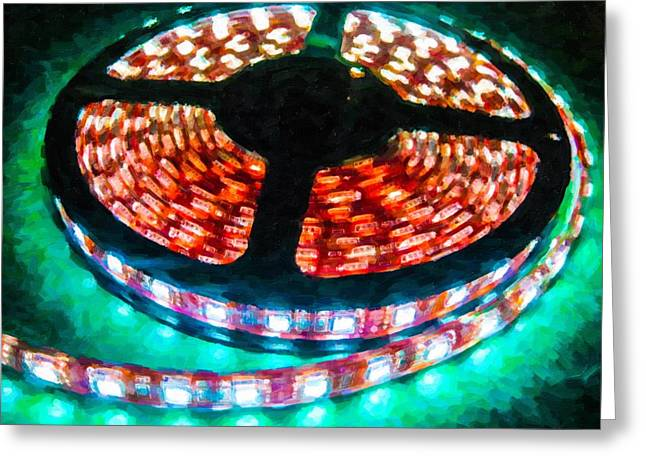 Transfer Paintings Greeting Cards - Optic Lights 3 Greeting Card by Lanjee Chee