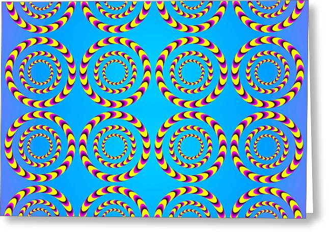 Shaking Greeting Cards - Optical Illusion Spinning wheels Greeting Card by Sumit Mehndiratta