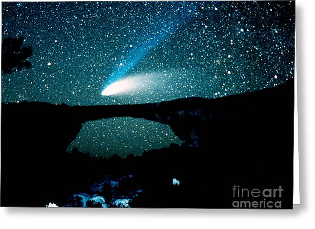 Hale-bopp Comet Greeting Cards - Optical Image Of Hale-bopp Comet Greeting Card by John Chumack