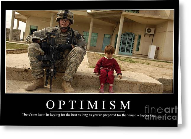 Iraq Posters Photographs Greeting Cards - Optimism Inspirational Quote Greeting Card by Stocktrek Images
