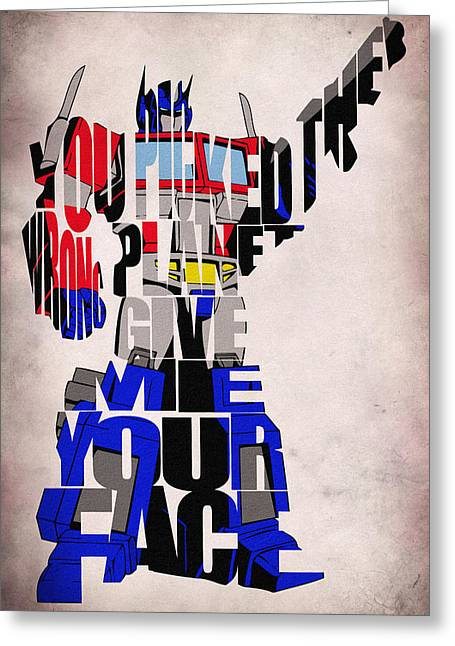 Typography Print Greeting Cards - Optimus Prime Greeting Card by Ayse Deniz