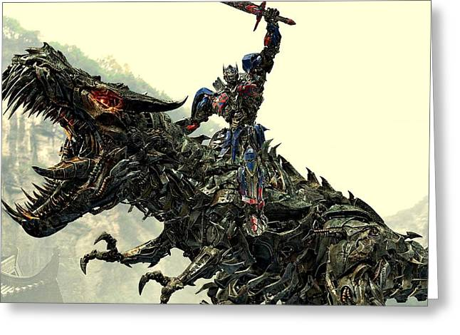 Transformer Greeting Cards - Optimus Prime Riding Grimlock Greeting Card by Movie Poster Prints