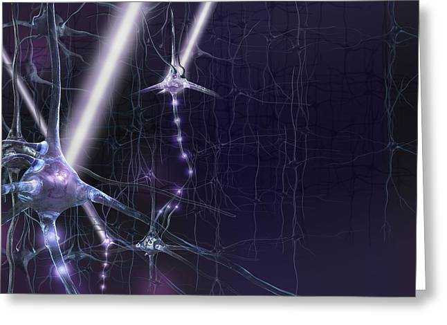 Biology Greeting Cards - Optogenetics, conceptual artwork Greeting Card by Science Photo Library