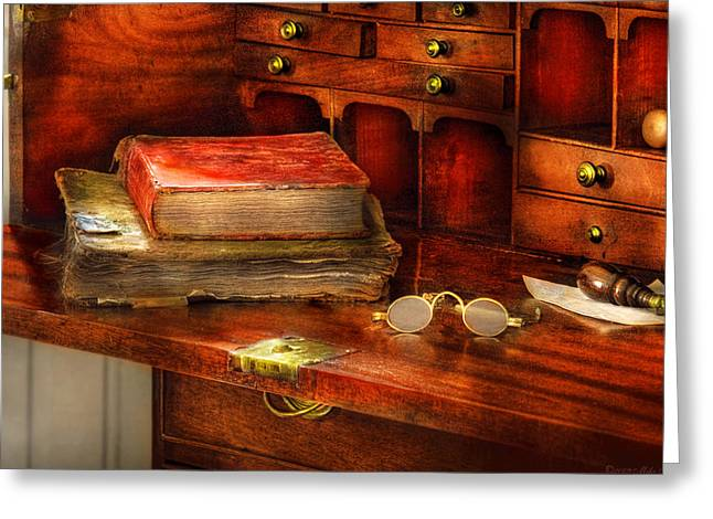 Lessons Greeting Cards - Optometrist - Glasses - The Secretary Greeting Card by Mike Savad