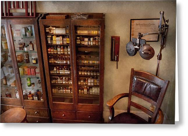 Cabinet Room Greeting Cards - Optometrist - The Optometrists Office Greeting Card by Mike Savad