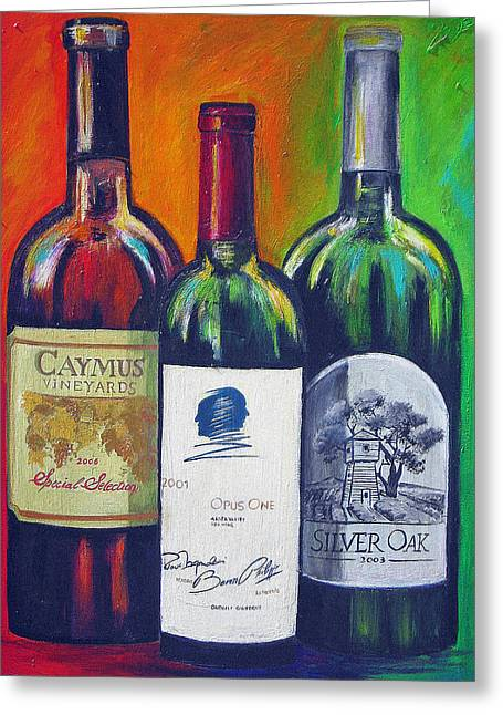 Wine Bottle Prints Greeting Cards - Opus One Caymus and  Silver Oak Greeting Card by Sheri  Chakamian
