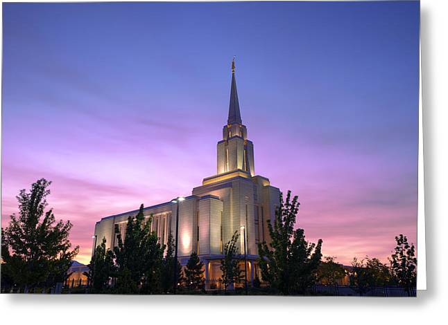 Late Evening Greeting Cards - Oquirrh Mountain Temple IV Greeting Card by Chad Dutson