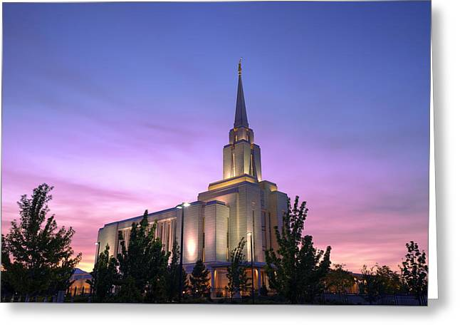 Oquirrh Mountain Temple Iv Greeting Card by Chad Dutson