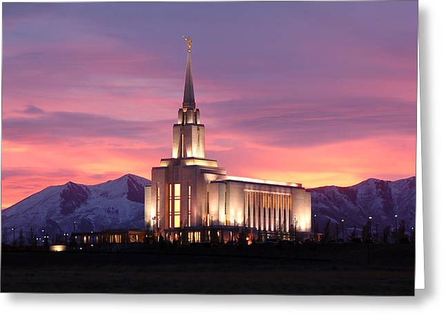 Recently Sold -  - Jordan Greeting Cards - Oquirrh Mountain Temple Sunset Greeting Card by John Wunderli