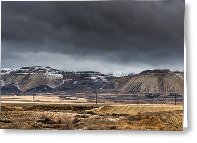 Winter Storm Greeting Cards - Oquirrh Mountains Winter Storm Panorama 2 - Utah Greeting Card by Gary Whitton