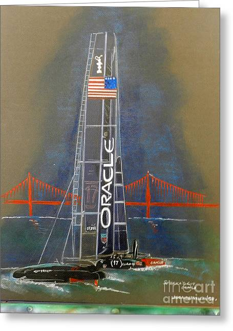 America Pastels Greeting Cards - Oracle Golden Gate Greeting Card by Jerald Vallan