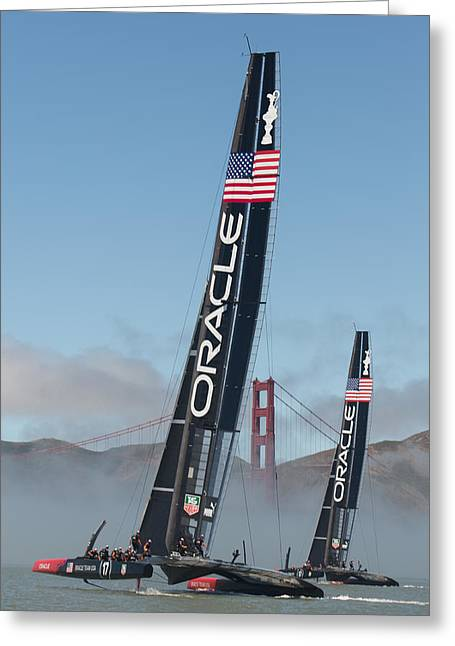 San Francisco Golden Gate Bridge Greeting Cards - Oracle Team USA - 1 Greeting Card by Gilles Martin-Raget