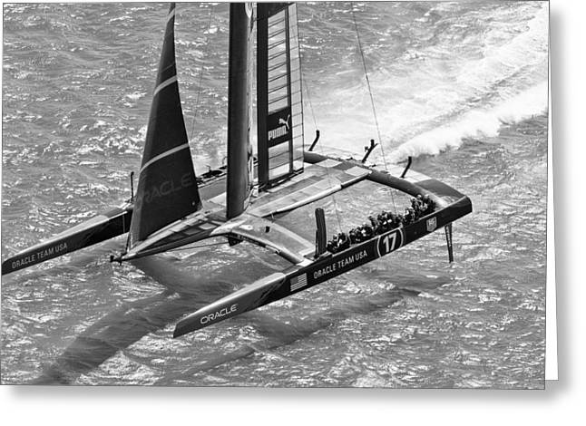 Recently Sold -  - Alcatraz Greeting Cards - Oracle Team Usa - 3 Bw Greeting Card by Gilles Martin-Raget