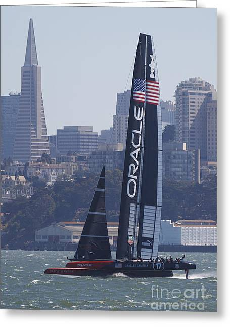 Recently Sold -  - Sailboat Images Greeting Cards - Oracle Team USA Americas Cup San Francisco Bay Greeting Card by Jason O Watson